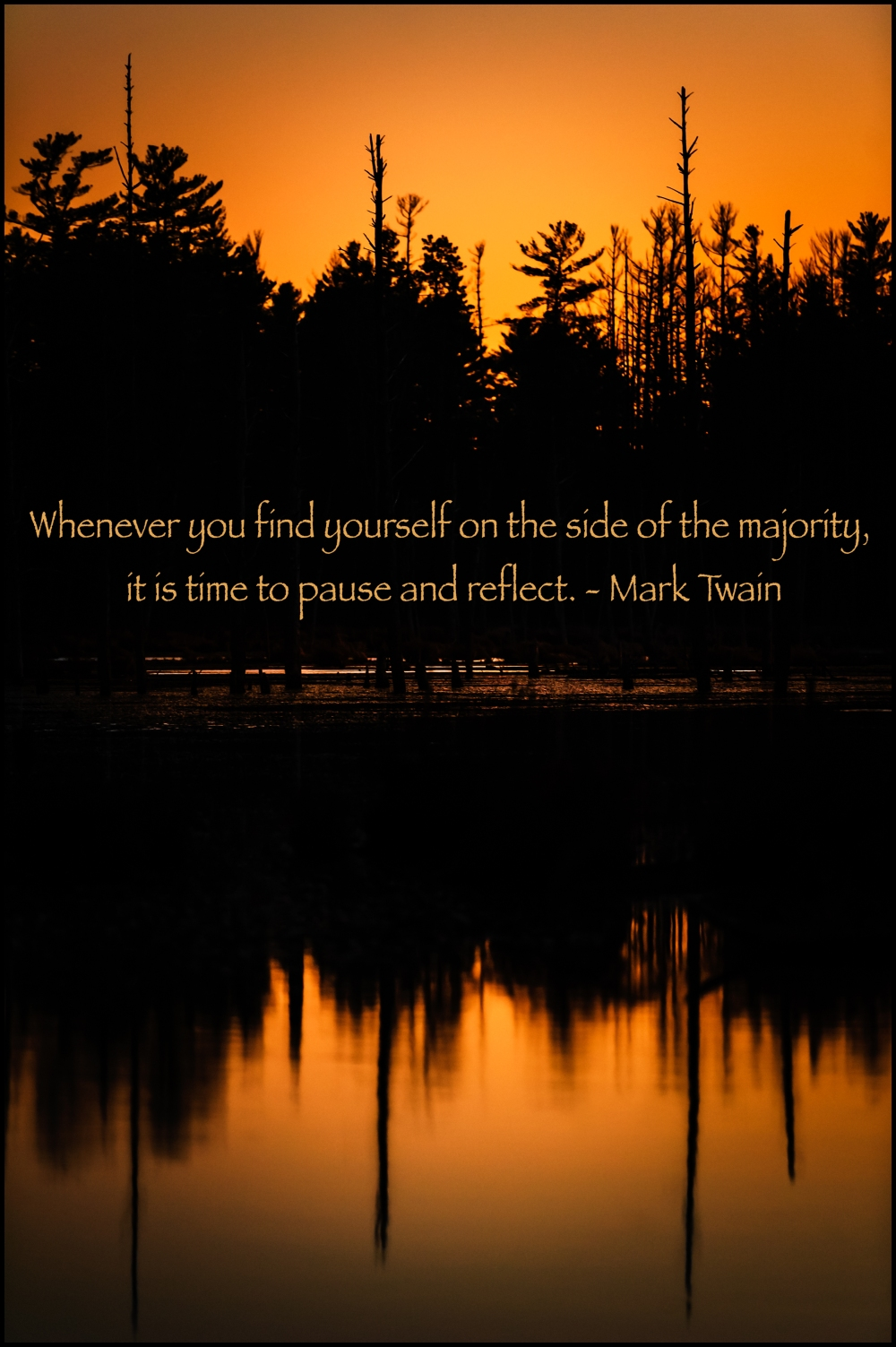 Quote Of The Day Whenever you find yourself on the side of the majority, it is time to pause and reflect. - Mark Twain
